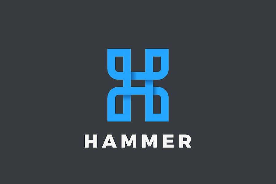 Letter H Logo design Linear style