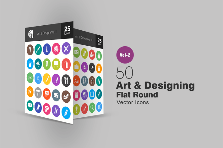 Thumbnail for 50 Art & Designing Flat Round Icons