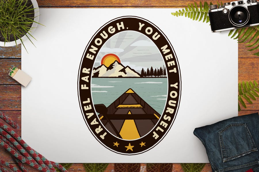 Vintage Travel Logo / Retro Mountain Badge