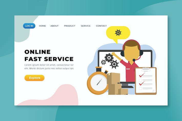 Thumbnail for Online Fast Service - XD PSD AI Zielseite