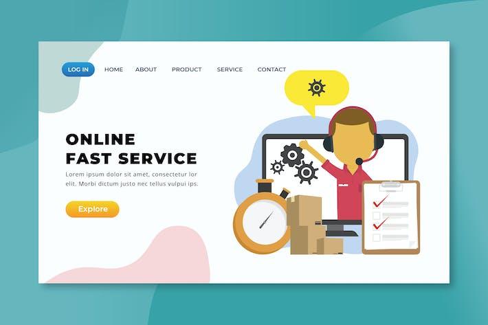 Thumbnail for Servicio rápido en línea - Página de inicio de XD PSD AI
