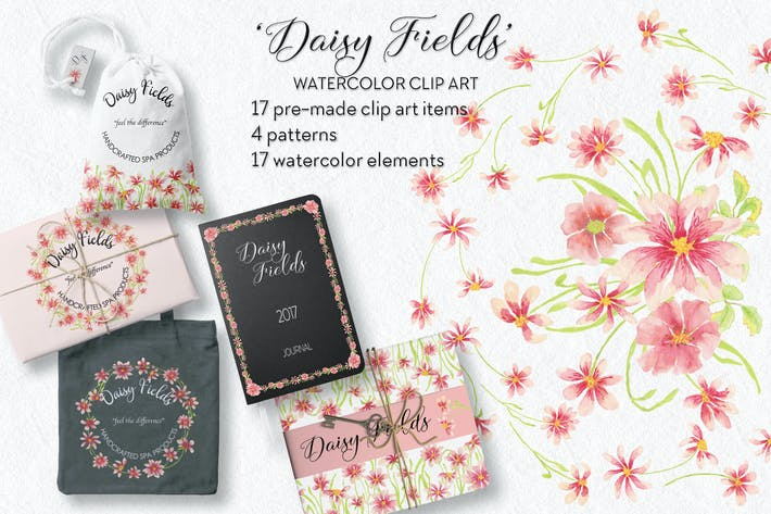 Thumbnail for Daisy Fields Watercolor Clip Art Bundle