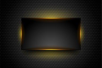 Black glowing frame on dark perforated background
