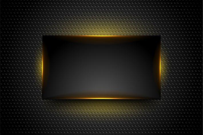 Schwarz leuchtender Rahmen auf dunklem perforiertem Hintergrund