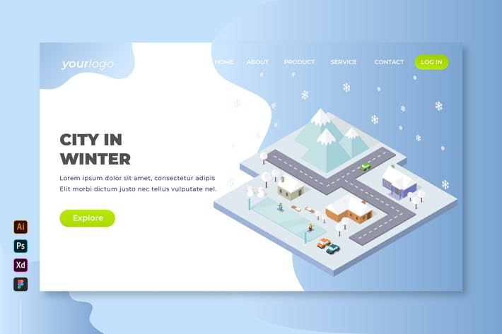 Thumbnail for City In Winter - Isometric Landing Page