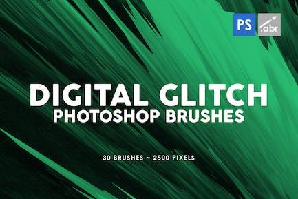 30 Digital Glitch Photoshop Stamp Brushes