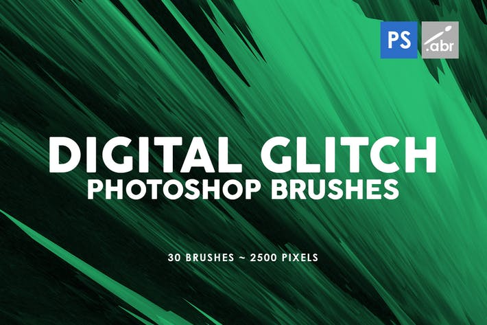 Thumbnail for 30 Digital Glitch Photoshop Stamp Brushes
