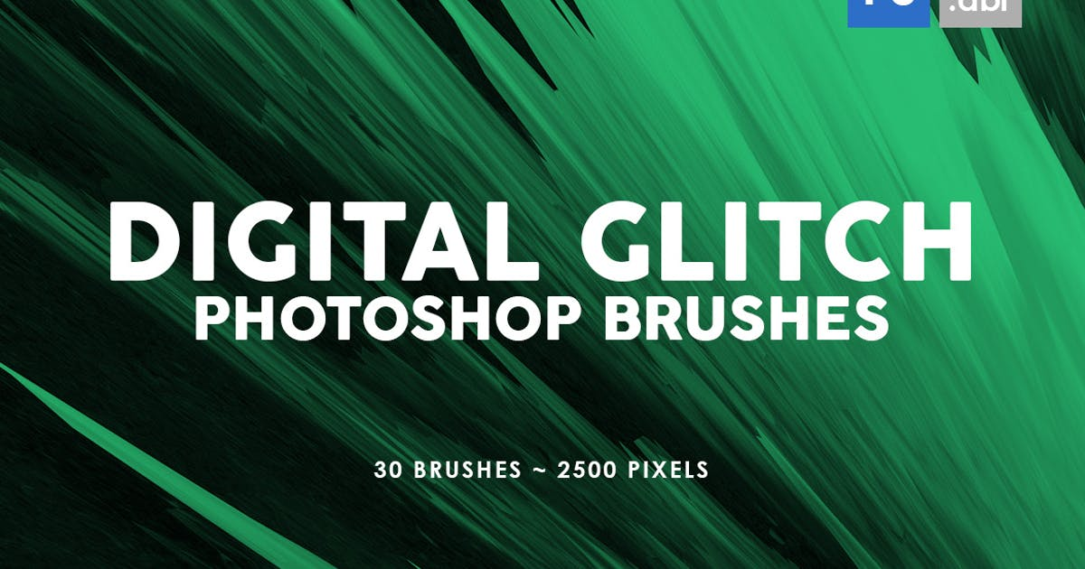 30 Digital Glitch Photoshop Stamp Brushes by M-e-f