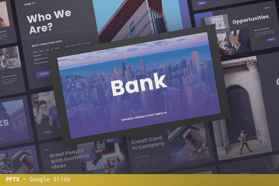 Банк Google Слайд Презентация Шаблон