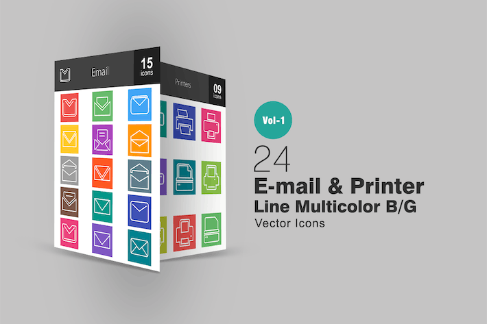 Thumbnail for 24 E-Mail- und Druckerlinien Multicolor Icons