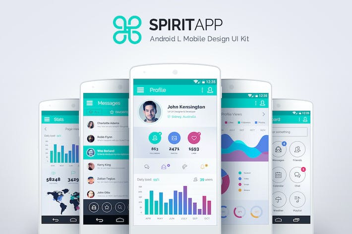 Thumbnail for SpiritApp White - Android Mobile Design UI Kit