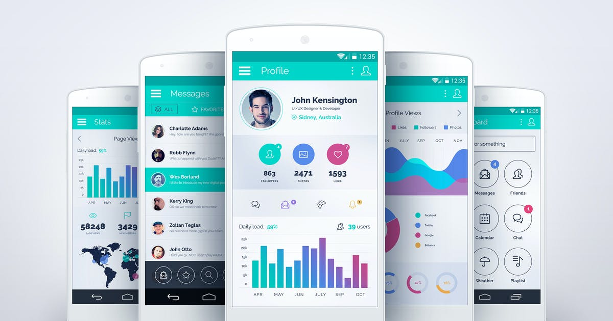 Download SpiritApp White - Android Mobile Design UI Kit by creakits