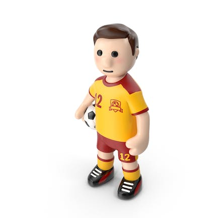 Cartoon Football Player Stands with Ball