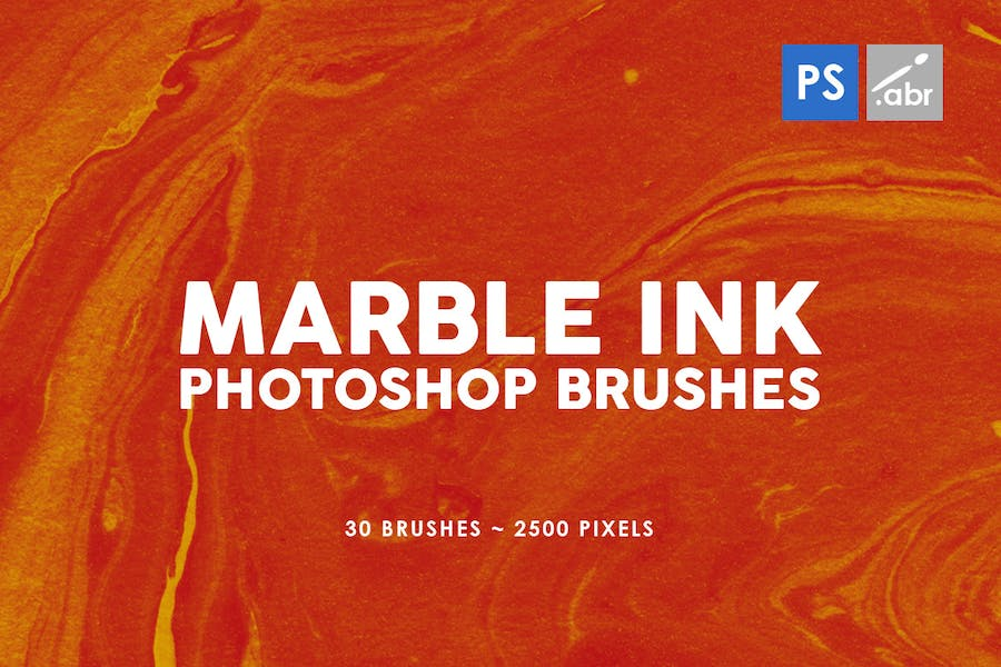 30 Marble Ink Photoshop Brushes Vol. 1