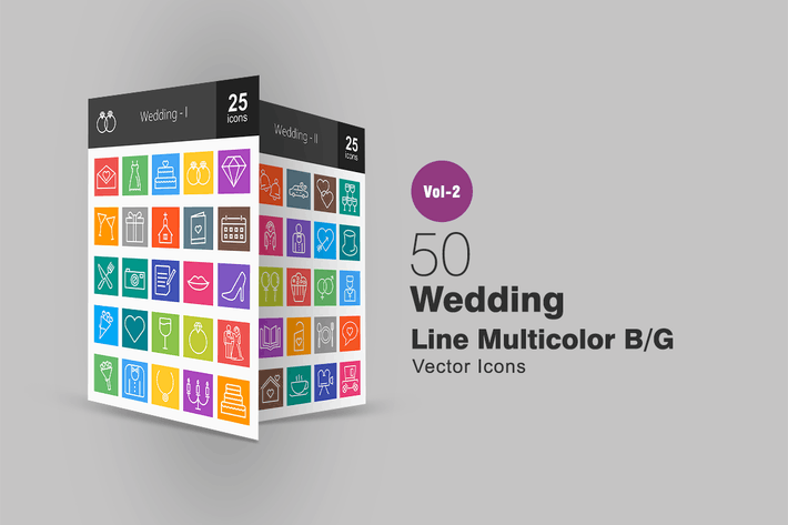 Thumbnail for 50 Wedding Line Multicolor Icons
