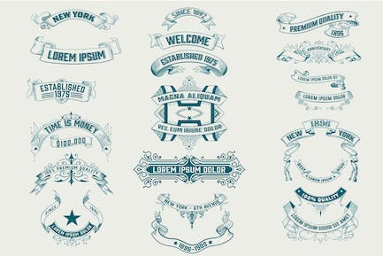 Set of Vintage banners