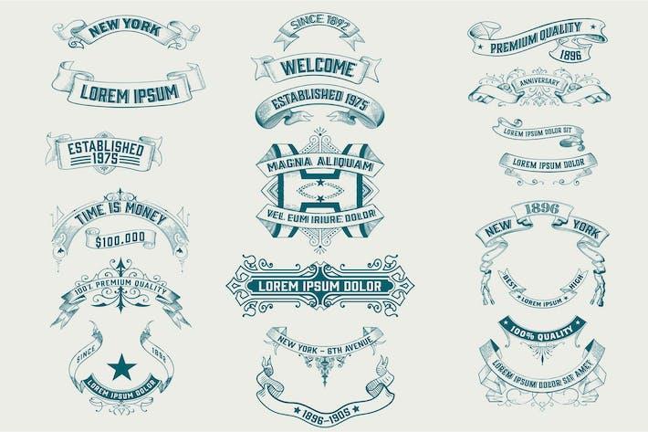 Set von Vintage-Bannern