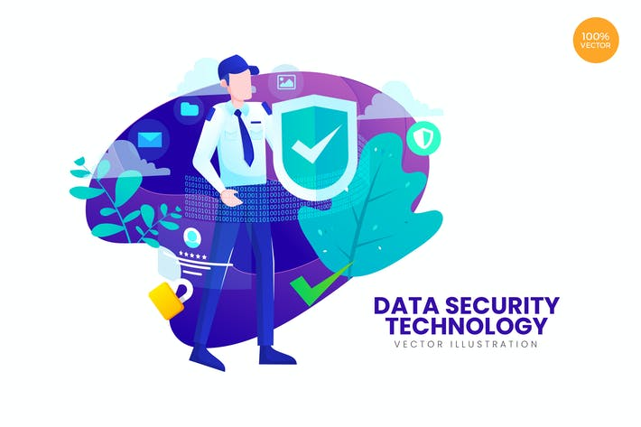 Thumbnail for Data Security Technology Vector Illustration