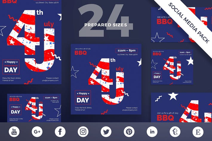 Thumbnail for Independence Day Social Media Pack Template