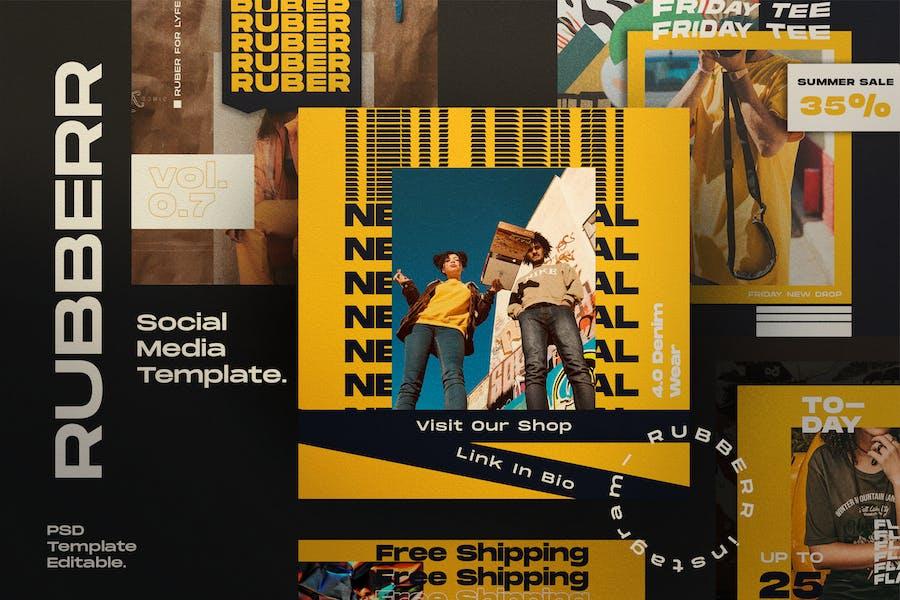 RUBBERR - Social media Template + Stories