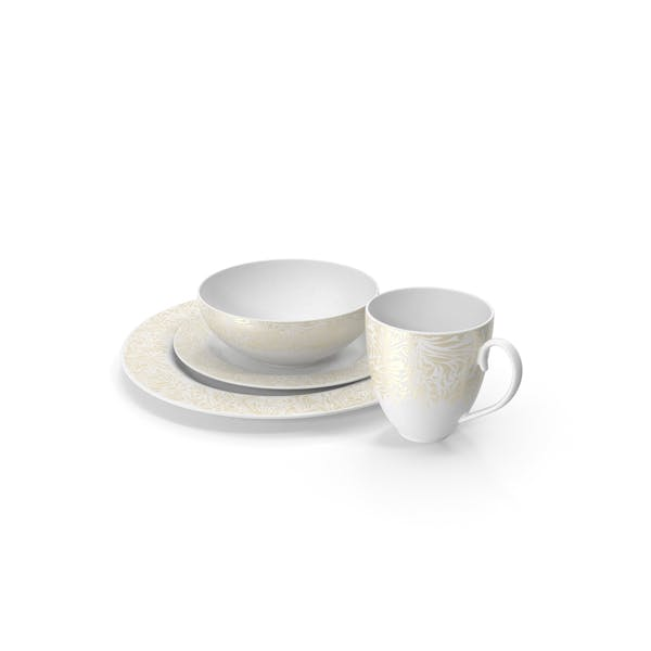 Thumbnail for White and Gold Dinnerware Set