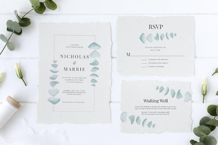 Thumbnail for Eucalyptus Wedding Invitation Suite