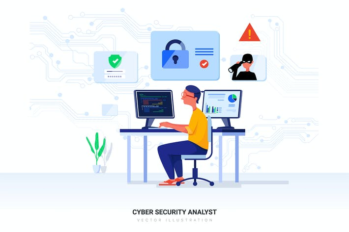 Thumbnail for Cyber Security Analyst Vector Illustration