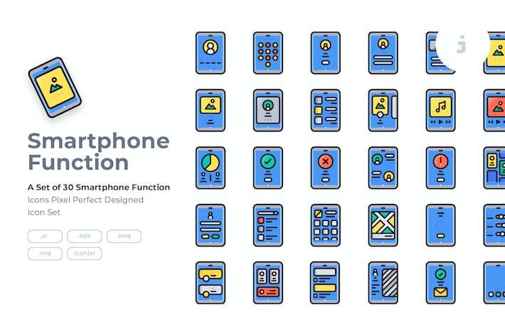 Thumbnail for 30 Набор иконок для мобильных функций - Детальная круглая линия