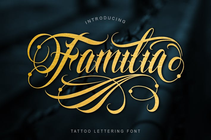 Thumbnail for Familia Tattoo Lettering Font