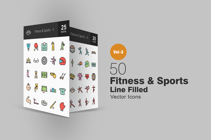 Thumbnail for 50 Fitness & Sports Line Filled Icons