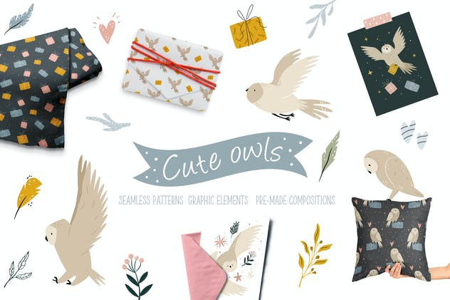 Cute Owls Set. Forest Characters