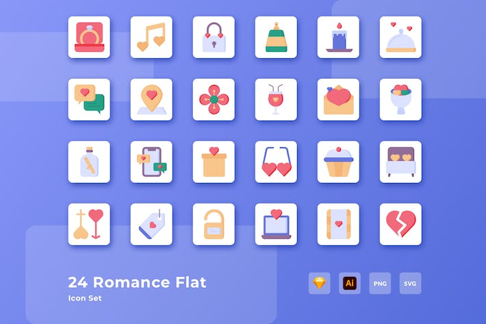 Valentine Romance Love Flat Icon Set