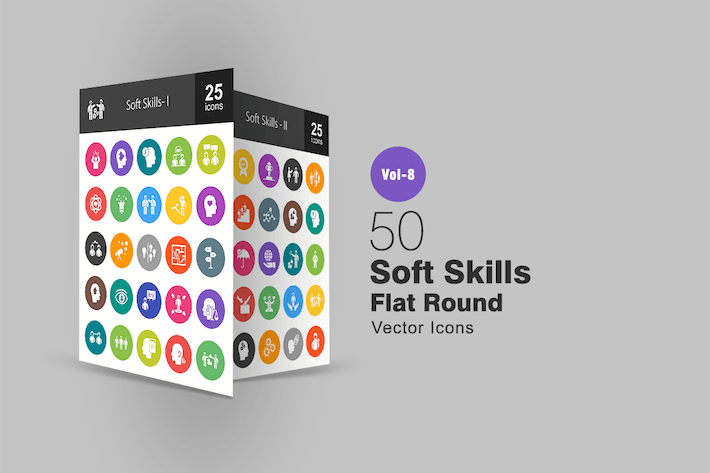Thumbnail for 50 Soft Skills Flat Round Icons