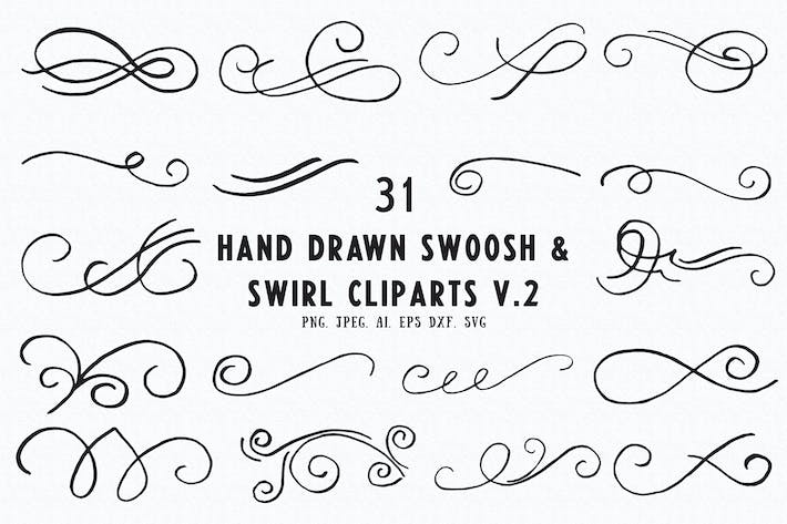 Thumbnail for 30+ Hand Drawn Swoosh & Swirl Cliparts Ver. 2