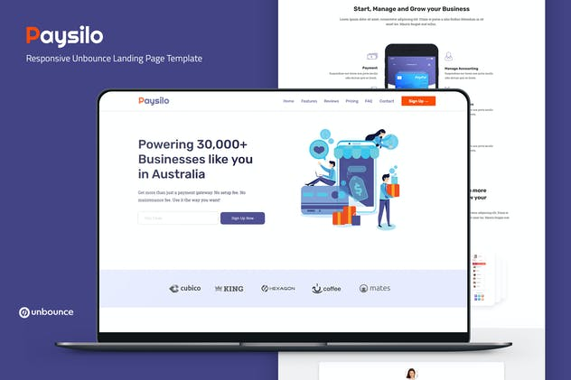 Paysilo —  Unbounce Landing Page Template - product preview 0