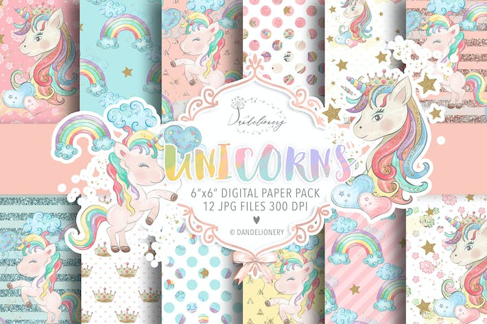 Thumbnail for Watercolor Unicorns II. digital paper pack