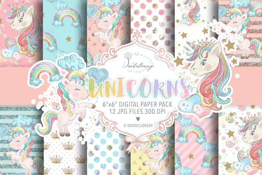 Watercolor Unicorns II. digital paper pack