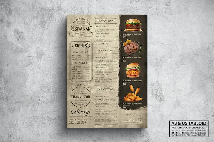 Thumbnail for Vintage Grill Poster Food Menu - A3 & US Tabloid