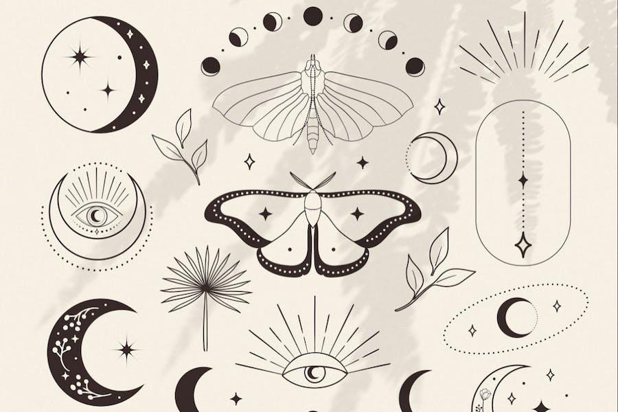 Design Elements for Logo. Esoteric mystic symbols.