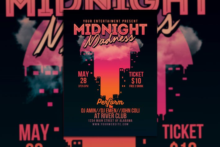 Thumbnail for Midnight Madness Electro Party Flyer