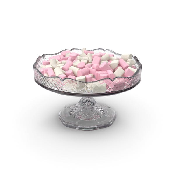 Fancy Crystal Bowl With Marshmallows