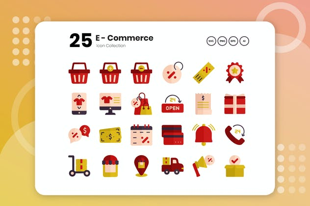 25 E-Commerce Flat Icon