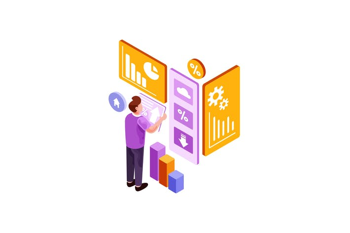 Thumbnail for Isometric Man Looking Infographics Illustration