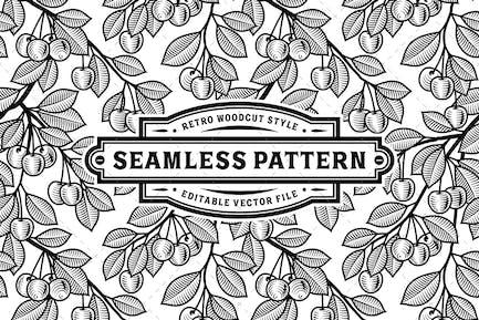 Seamless Cherry Pattern Black And White
