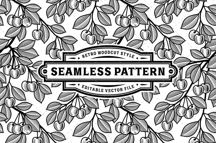 Thumbnail for Seamless Cherry Pattern Black And White