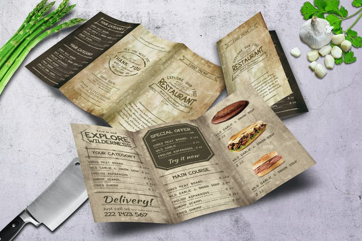 Thumbnail for Vintage Old A4 Trifold Menu