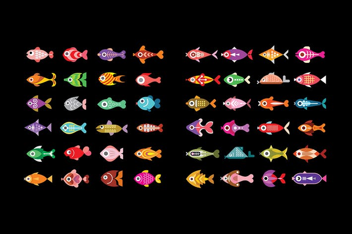 Thumbnail for Fish vector icon set, design elements