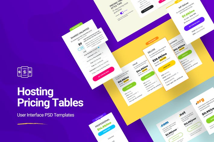 Hosting Pricing Table PSD Templates