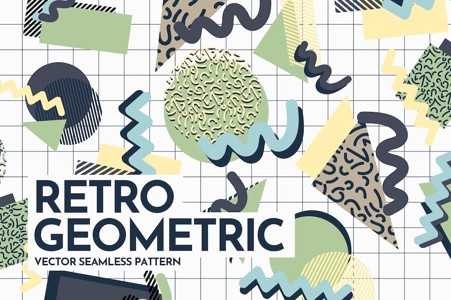 Retro Geometric Shapes Seamless Patterns
