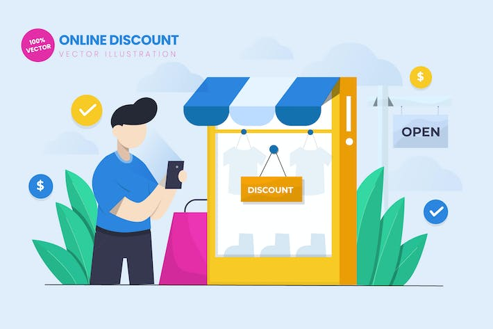 Thumbnail for Online Discount Flat Vector Illustration